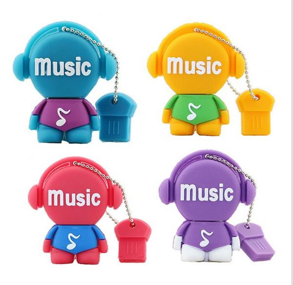 Free shipping PenDrive Cartoon 32GB Music Man USB Flash Drive 4GB 8GB 16GB 32GB Flash Drive Musician Flash Memory Stick Cute Cartoon U Disk