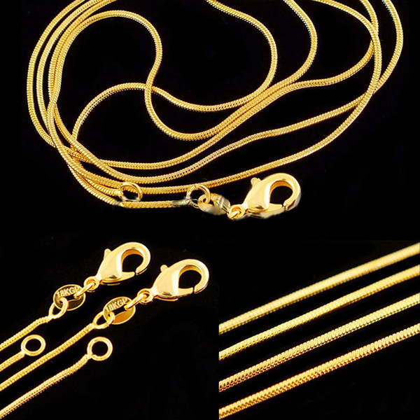 Jewelry 1mm 16-30 inch Gold Filled Chains Necklaces Fashion Necklace Silver/Gold Snake Chain Necklace for Men