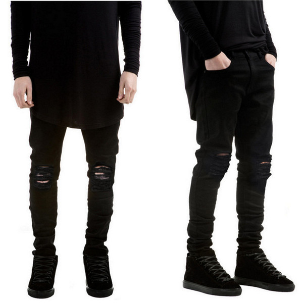Wholesale-2016 New Black Ripped Jeans Men With Holes Denim Super Skinny Famous Designer Brand Slim Fit Jean Pants Scratched Biker Jeans