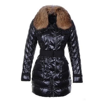 Fashion Winter Down Coat Women Sashes Jacket with Fur Safran Slim ladies Coats Brands cold Parkas Outwear Black Red Beige Plus Size Cheap