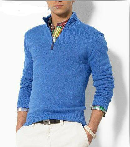 Wholesale-new arrival cardigan v neck polo sweater, men cotton casual coat, fashion brand knitted sweater half zipper jumper