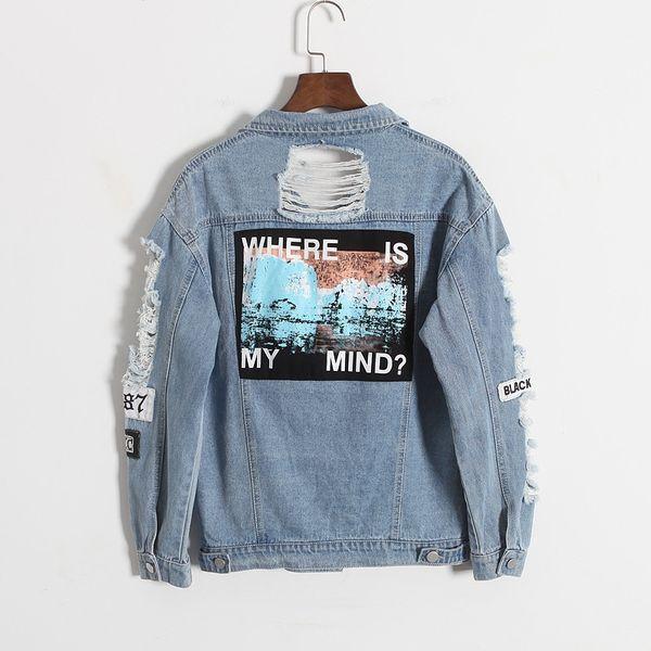 Al por mayor-Nueva llegada Destroyer bordado Letras Jeans Loose BF Parche Chaqueta de Mezclilla Abrigos de Gran Tamaño de Las Mujeres Harajuku Estilo de prendas de Vestir Exteriores