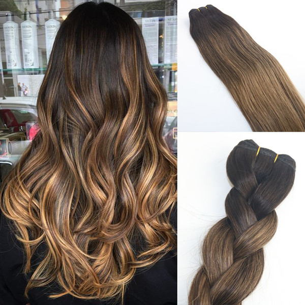 Balayage Ombre Dye 2 8 Brown High Quality Hot Selling Brazilian Virgin Hair Straight Human Hair Weave Extensions Bundles 100g Wavy Hair Weave Wet And