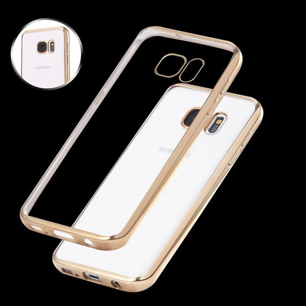 Soft Plated Case Ultra Thin Hybrid Gilded Silicone Electroplate Four Sides Protection Anti Slam Package Metal Clear Crystal Rubber Hard Shoc
