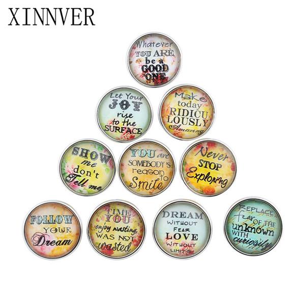 Livraison Gratuite DIY Bijoux Couleurs Mixtes 18mm Lettre En Verre Snaps Fit bouton s'enclenche Bracelets Xinnver Snap Bijoux ou collier ZB307