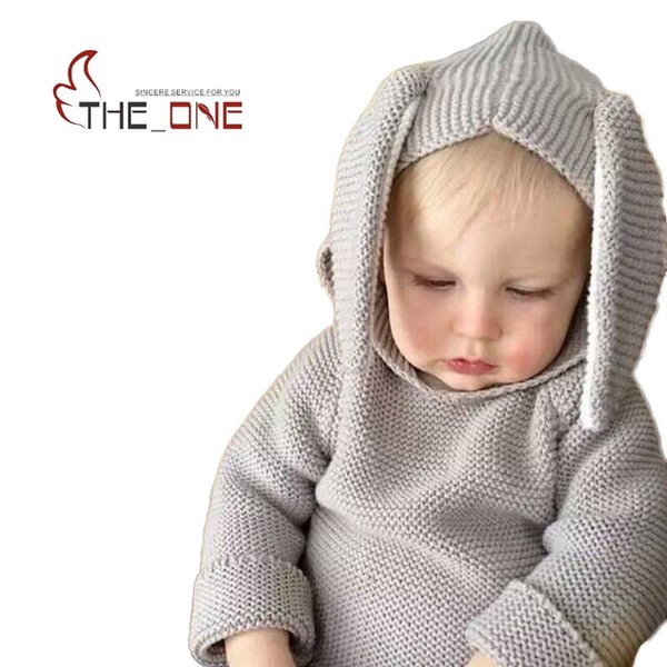 All'ingrosso Baby Boys Girls 1-5T Autunno Inverno Maglieria di lana Coniglio orecchio Hoodies Bambini Hooded Homewear Abbigliamento Felpe per bambini