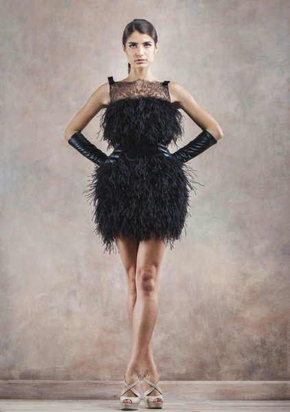 Sexy Black Cocktail Dresses Short Homecoming Prom Gowns Bameloteodoro 2017 Occasion Dress Sheath Feather Sleeveless Party Celebrity