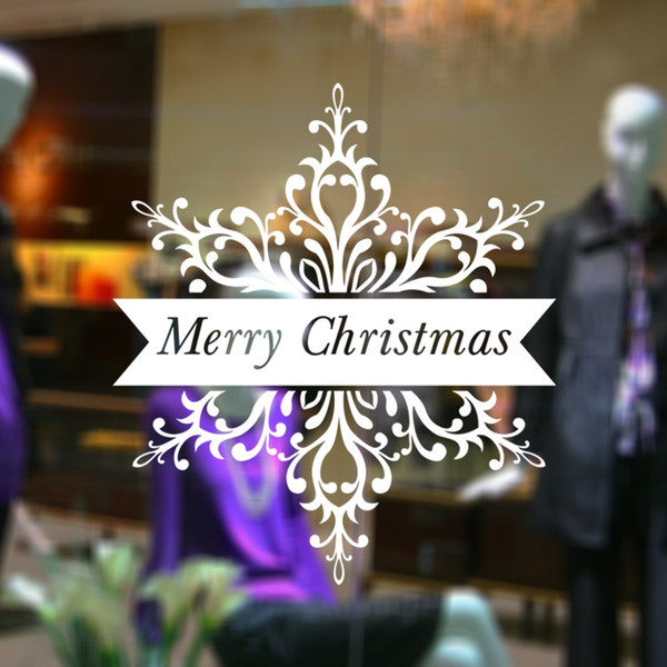 M-27 Merry Christmas On Snowflake Christmas Decoration Shop Window Glass Sticker Xmas New Year Party Home Decor Decoration
