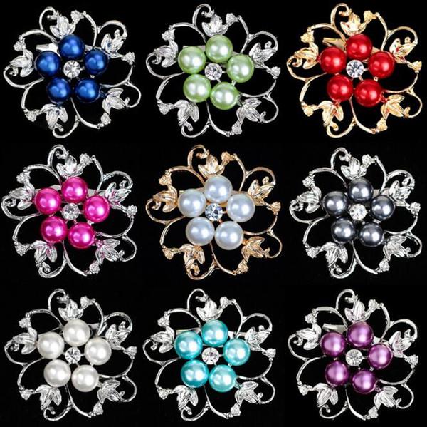 Popular liga de diamante broches de pérolas Folwer em forma de festa breastpin Europeu e Americano popular bela decoração do partido venda Quente
