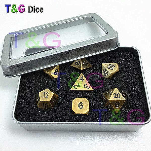 Top Quality New Bronze Metal 7Dice Set D 4D 6D 8D 10D% D 12D 20Board Game Dungeons And Dragons Jouet Rpg Dadi digitali con scatola