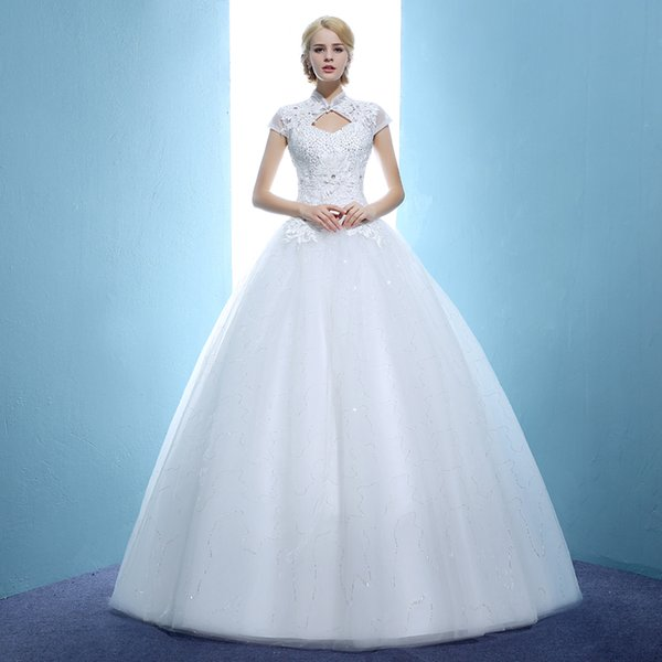 Elegant Cap Sleeve High Neck Ball Gown Wedding Dress Beading Lace ...