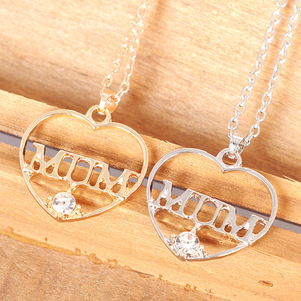 Mum Pendant Gold Gift Chain Heart Love hollow diamond Jewelry Necklace Mothers day from daughter Rhinestone Mother 's Day gift