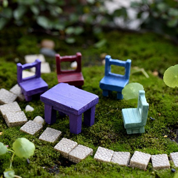 8pcs Table Chair Statues Fairy Garden Miniatures Resin Craft Terrarium Figurines Bonsai Tools Gnomes Micro Landscape Home Decor Accessories