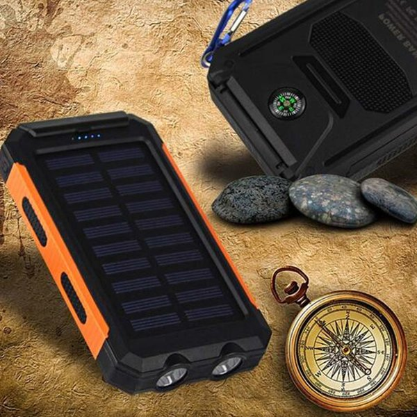 Waterproof Solar Power Bank 10000mah Solar Battery Charger Bateria Externa Portable Charger Powerbank With LED Light Compass