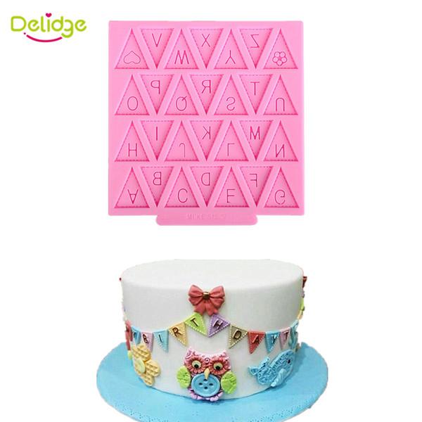 Delidge 10 pc drapeau anglais moule à gâteau en silicone petite bannière fondant moule 26 lettres anglais bricolage cuisson cupcake outil de décoration