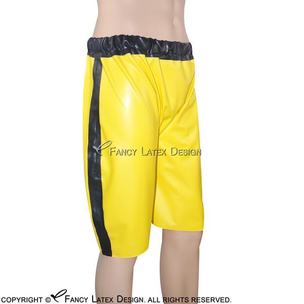 Sexy Latex Boxer Shorts With Elastic Bands Single Stripe Two Side Fetish Rubber Boy Shorts Underpants Underwear Bondage Pants DK-0054