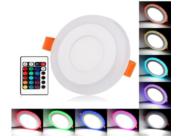 Acrílico Regulable Color dual Blanco RGB Incrustado Panel LED Luz 6W 9W 18W 24W Downlight Luces empotradas Iluminación interior con control remoto