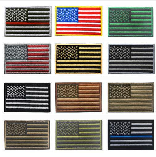 top popular 60pcs Tactical American USA Thin blue line law enforcement Texas Lonely Star Marine Corps Usmc Black Ops Flag Embroidered Patch 2019