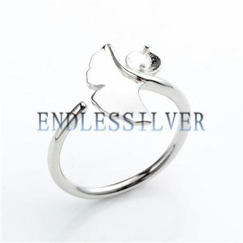 Ring Settings Blank Base Ginkgo Leaf 925 Sterling Silver DIY Jewellery Finding Mountings for Pearl Party