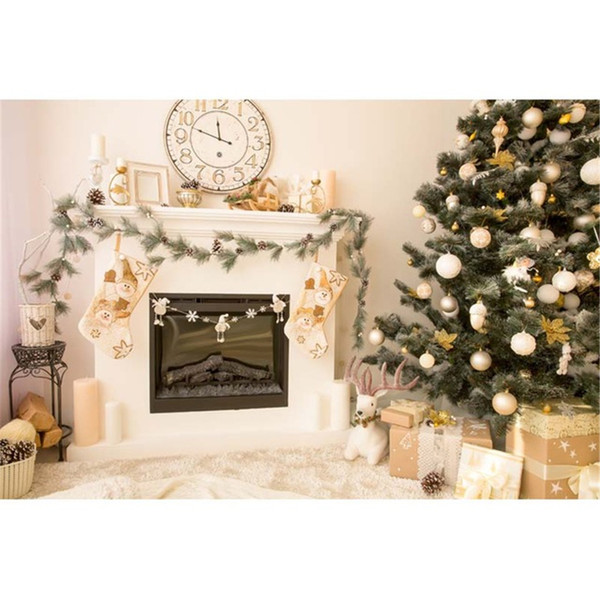 Indoor House Christmas Tree Backdrop Photography White Wall Clock Fireplace Gift Boxes Elk New Year Holiday Photo Studio Background Vinyl