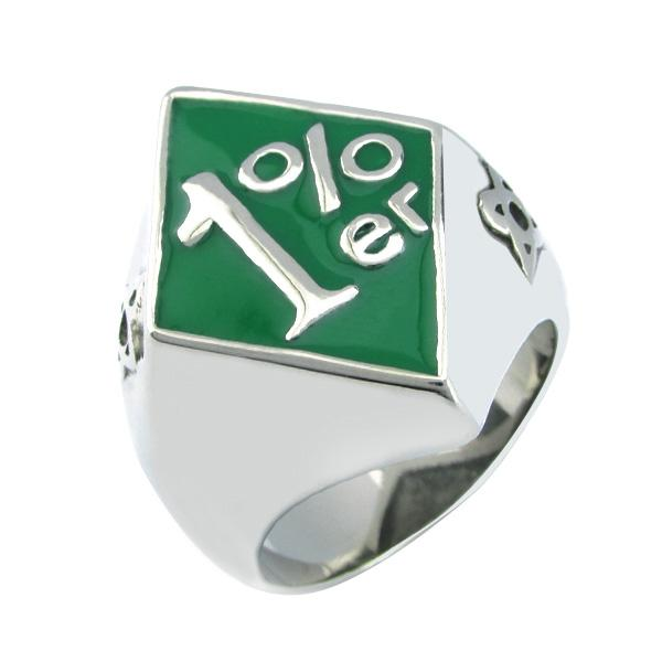 Free Shipping! Punk 316L Stainless Steel Silver White Green color Soft Enamel 1% ER Biker Ring,One Percent Ring