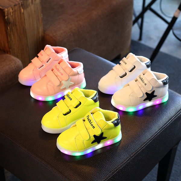 best selling girls light up shoes baby sneakers Baby Sport Shoes Kids LED Kids Boys Girls Shoes Light Up Luminous Children Trainers Sport Sneakers