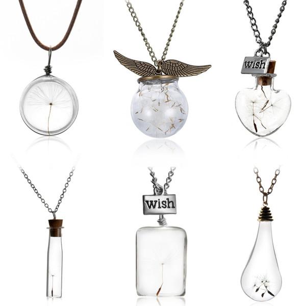 Gros-collier de bouteille en verre naturel graines de pissenlit en verre long collier Faire un souhait perle de verre Orb argenté collier collier bijoux