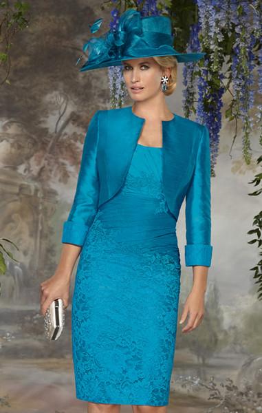 Bleu élégant dentelle Robes de mariée carrée longueur genou froncé mancherons avec la veste en taffetas pour le mariage Mère robe de marié