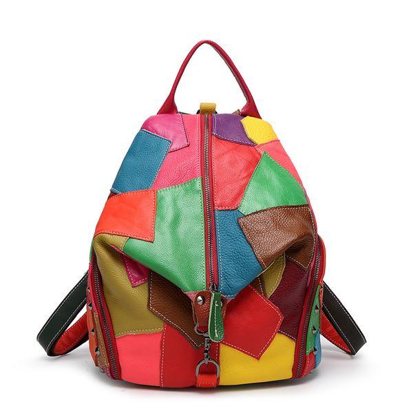 Оптовая торговля-мода красочные женщины натуральная кожа рюкзак с мягкой ручкой дизайнер высокое качество овечьей кожи лоскутное заклепки рюкзаки девушка