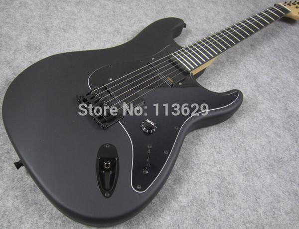 Пользовательский магазин Джим корень подпись ST Strat Ocaster матовый черный электрогитара черное дерево накладка нет инкрустация OEM настраиваемый фарфора копия гитары