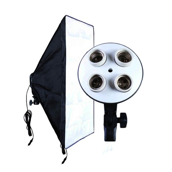 Freeshipping Photo Studio Accessories Soft Box 100V-240V 4-Socket Lamp Holder + 50*70CM Light Softbox Photography Lighting Equipment