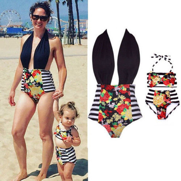 top popular Family Matching Outfits Mother And Daughter Summer Swimsuit Kids Parent Striped Swimwear Baby Girls Clothes 2019