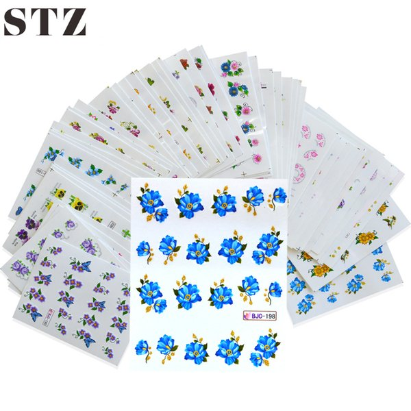 Wholesale- 55Sheets NEW 3d Glitter Designs Nail Art Sticker Water Transfer Decals Mixed Flower With Gold Powder DIY Tips Manicure BJC55