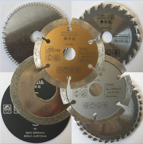 best selling 7pcs set mini saw blades cutting blades for mini circular saw, diameter 85x15mm, electric saw blade,Power tool accessory blades