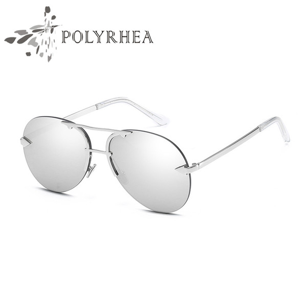 High Quality Classic Frameless Sunglasses Women Designer Brand Sun Glasses Twin-Beams Coating Mirror Sunglasses With Box And Case