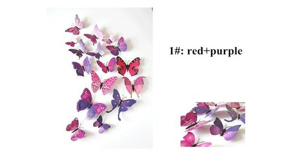 2017 hot sale 3D butterfly decoration wall stickers 12pc 3d butterflies 3d butterfly removable wall stickers butterflys in stock