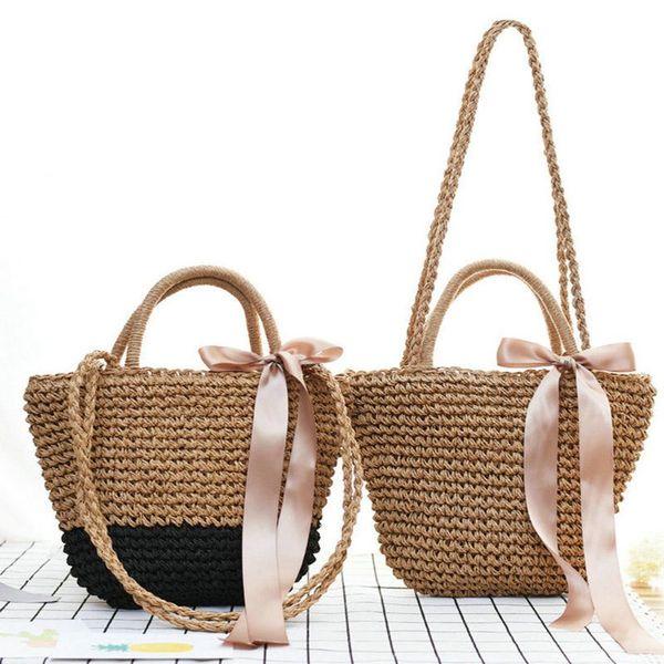 32 * 22cm Bolso de la playa de la paja del Bowknot de la cinta del verano Bolsos tejidos hechos a mano de los bolsos de hombro de las mujeres para las mujeres Bolso grande de las compras de Boho