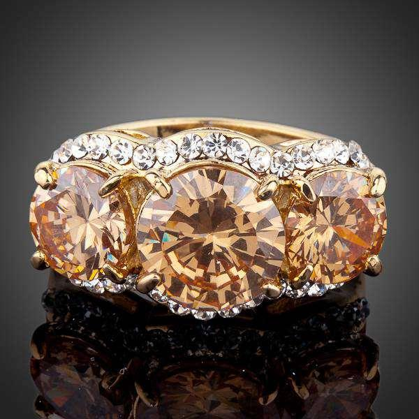Neoglory Jewelry Swarovski Elements Sparkling Gold Color 3pcs Gold Colour Stellux Austrian Crystal Ring For Women