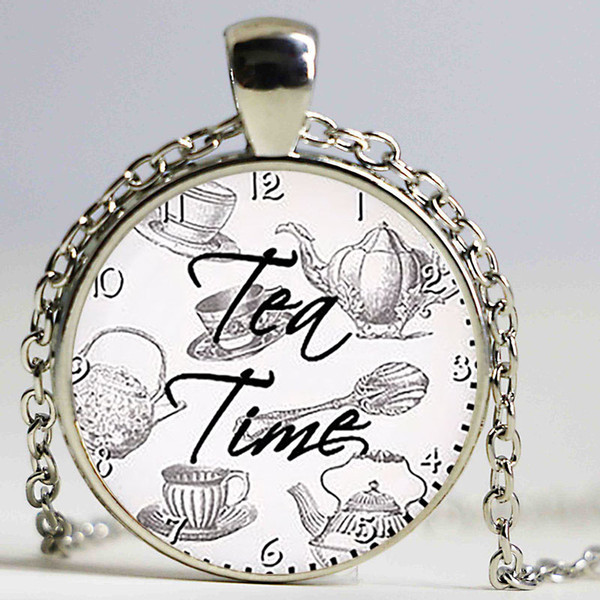 Ciondolo citazione Tea Time. Citazione collana. Citare gioielli, amanti del tè. Ciondolo in vetro cabochon regalo di compleanno, placcato argento