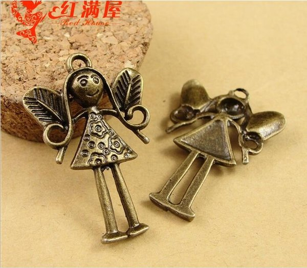 25*38MM Antique Bronze angel charms for bracelet, metal vintage flying fairy pendants for necklace, alloy jewelry making handmade materials