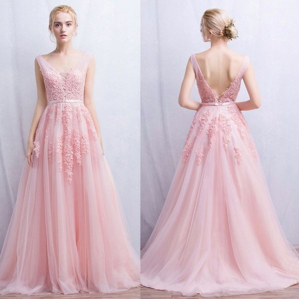 Modern Pale Pink Tulle Prom Dresses Beads V Neck Party Formal Gown ...