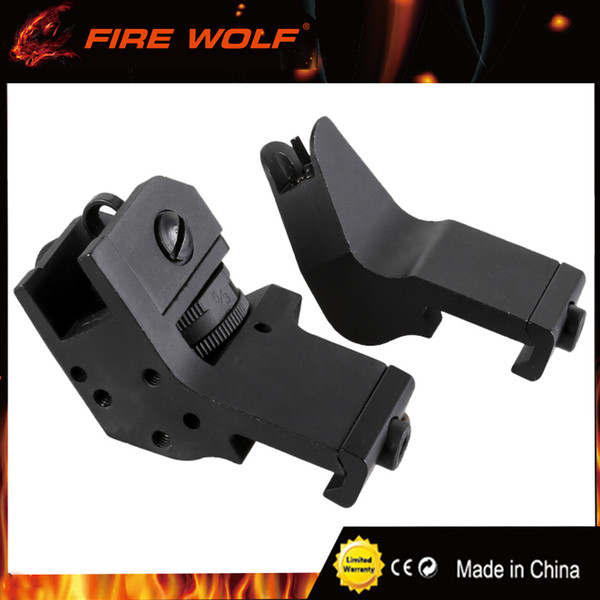 FIRE WOLF Tactical Hunting Flip Up Front Rear 45 Degree Adjustable Rapid Transition Backup Iron Sight Set High Quality