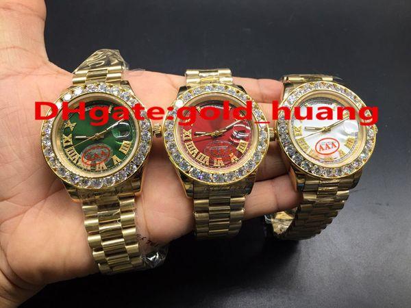 NOVA Luxo 43mm Ouro Grande diamante Mecânico homem assista (Red, verde, branco, azul, ouro) de discagem Automático de aço Inoxidável relógios masculinos