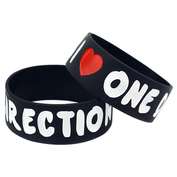 Wholesale 50PCS/Lot I Love One Direction Silicone Wristband 1 Inch Wide Bracelet For 1D Music Fans Gift