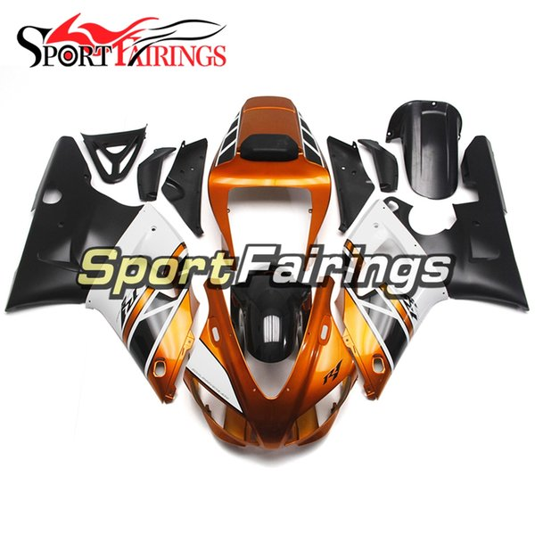 Injection Plastics Fairings For Yamaha YZF1000 YZF R1 98 99 1998 1999 ABS Fairings Motorcycle Full Fairing Cowlings Gold White Black Hulls