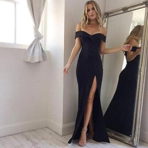 8ddd3b39e1f14 2018 Elegant Black Off Shoulder Mermaid Prom Dresses Cheap Side Split Long  Evening Gowns Floor Length