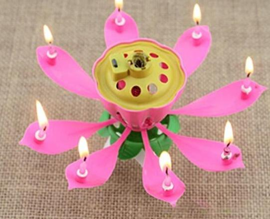 Velas Decorativas Newest Music Candle Birthday Party Wedding Lotus Sparkling Flower Candles Light Event Festive Supplies Ems free 60pcs