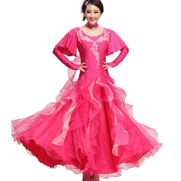 3 colors Sexy dress modern adult diamond embroidery Waltz Tango Foxtrot quickstep costume competition clothing standard ballroom dance skirt