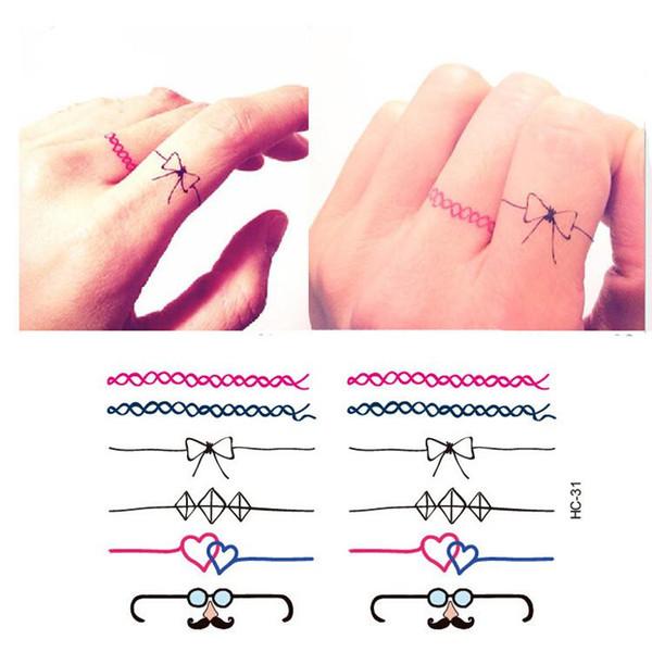 Miniature Finger Hand Fake Ring Tattoo Stickers Waterproof Women Cute Bow Design False Temporary Tattoo Sticker Free Shipping