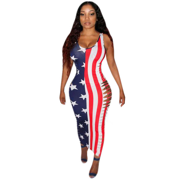 Summer American Flag stampato Maxi Dress Women Bodycon Bandage Nightclub Abiti Side Hollow Out Sexy Vest Vest senza maniche Femme